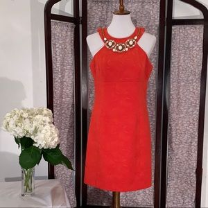 Laundry orange SW beaded sleeveless dress.